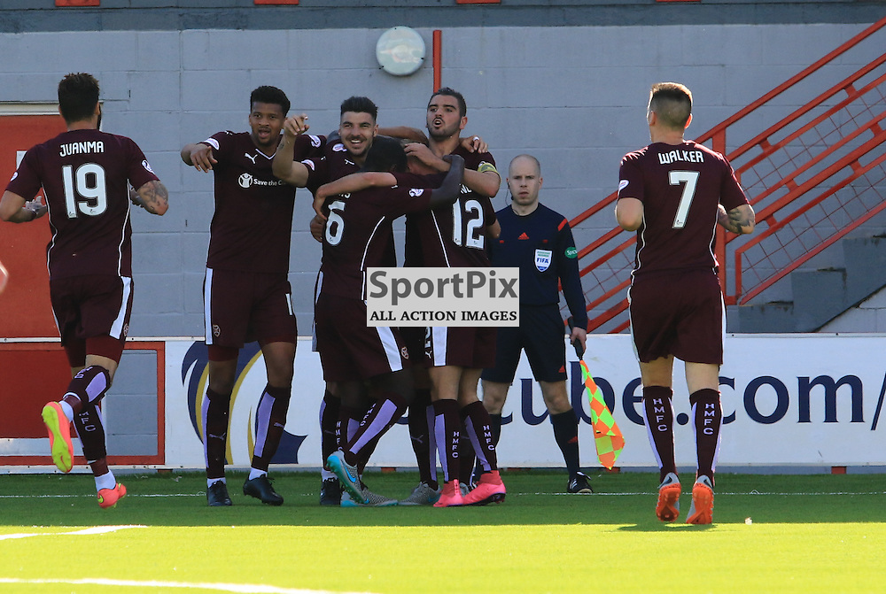 Heart's Callum Paterson celebrates his goal to put his team in front during the Hamilton Academical FC  V Heart of Midlothian FC Scottish Premiership 29th August 2015  ©Edward Linton | SportPix.org.uk