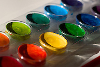 watercolor; paints; art; supplies; childrens; crafts; water; color; watercolour; colour; paint; pigment; rainbow; brush; child; green; creative; tool; container; assortment; blue; brilliant; clear; concept; conceptual; detail; multiple; orange; recreation; red; round; spot; toy; variety; yellow; chroma; circle; circles; coloring; colors; colours; kids; watercolors; horizontal