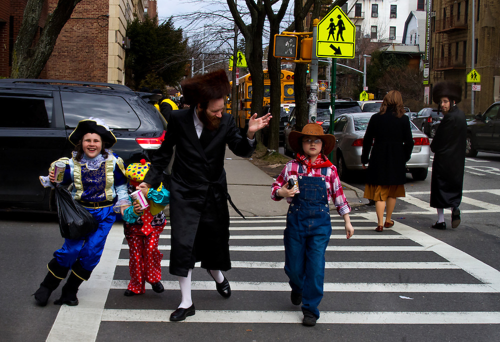 Purim, a Jewish Holiday, celebration on the streets of Borough Park, Brooklyn.