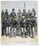 The ranks of the Italian army from General to Infantryman.  From 'Le Petit Journal', Paris 28 May 1892. Military, Soldier