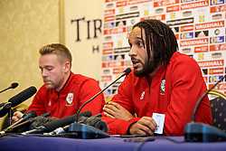 TIRANA, ALBANIA - Monday, November 19, 2018: Wales' captain Ashley Williams (R) and Chris Gunter during a press conference at the Tirana International Hotel ahead of the International Friendly match between Albania and Wales. (Pic by David Rawcliffe/Propaganda)