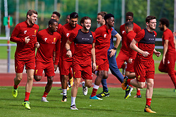 ROTTACH-EGERN, GERMANY - Friday, July 28, 2017: Liverpool's Jon Flanagan, Adam Lallana and Andy Robertson during a training session at FC Rottach-Egern on day three of the preseason training camp in Germany. (Pic by David Rawcliffe/Propaganda)