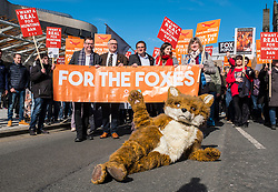 Edinburgh, Scotland,UK. 24 March 2018. For the Foxes March in Edinburgh City Centre. Protest march organised by groups such as League Against Cruel Sports and IFAW, to campaign for a ban on fox hunting in Scotland.