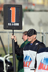 "17 November 2012:  Larry Rottunda holds the ""down box"" as a chain gang official during an NCAA Missouri Valley Football Conference football game between the North Dakota State Bison and the Illinois State Redbirds at Hancock Stadium in Normal IL"
