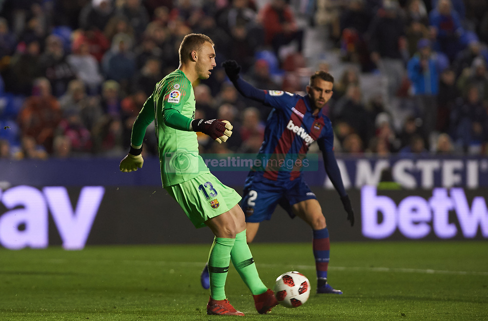 January 10, 2019 - Valencia, Valencia, Spain - Borja Mayoral of Levante UD and Jasper Cillessen of FC Barcelona during the Spanish Copa del Rey match between Levante and Barcelona at Ciutat de Valencia Stadium on Jenuary 10, 2019 in Valencia, Spain. (Credit Image: © Maria Jose Segovia/NurPhoto via ZUMA Press)