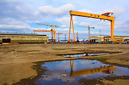 Samson (left) and Goliath (right) the two famous great shipbuilding cranes of the shipbuilding company Harland and Wolff heavy industries which were completed in 1974 and 1969 respectively. Located on Queen's Island, Belfast