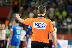 Referee during handball match between National teams of Slovenia and Denmark on Day 2 in Main Round of Men's EHF EURO 2018, on January 19, 2018 in Arena Varazdin, Varazdin, Croatia. Photo by Mario Horvat / Sportida