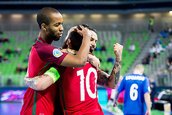 Joao Matos of Portugal celebrate during futsal match between Portugal and Azerbaijan in Quaterfinals of UEFA Futsal EURO 2018, on February 6, 2018 in Arena Stozice, Ljubljana, Slovenia. Photo by Ziga Zupan / Sportida