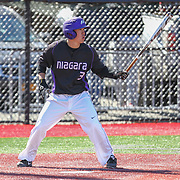 Geoff Seto #3 of the Niagara Purple Eagles steps up to the plate during the game at Friedman Diamond on March 16, 2014 in Brookline, Massachusetts. (Photo by Elan Kawesch)