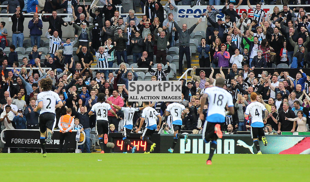 Newcastle United v Chelsea English Premiership 26 September 2015; Ayoze Perez (Newcastle, 17) celebrates his goal in front of the fans during the Newcastle v Chelsea English Premiership match played at St. James' Park, Newcastle; <br /> <br /> &copy; Chris McCluskie | SportPix.org.uk
