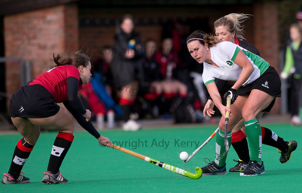 Canterbury's Cara Brogan-Jones plays the ball through the Bowdon defence during their Investec Women's Hockey League Premier Division game at Canterbury HC, 8th February 2014.
