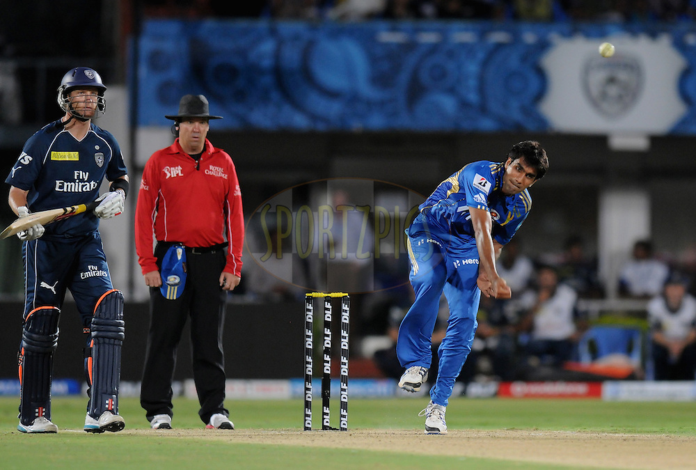 Munaf Patel of Mumbai Indians bowls during match 6 of the Indian Premier League ( IPL) 2012  between The Deccan Chargers and the Mumbai Indians held at the ACA-VDCA Stadium, Visakhapatnam on the 9th April 2012..Photo by Pal Pillai/IPL/SPORTZPICS