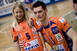 Alen Sket of ACH with his young fan at final match of Slovenian National Volleyball Championships between ACH Volley Bled and Salonit Anhovo, on April 24, 2010, in Radovljica, Slovenia. ACH Volley defeated Salonit 3rd time in 3 Rounds and became Slovenian National Champion.  (Photo by Vid Ponikvar / Sportida)
