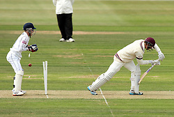 Somerset's Tom Abell is bowled by Hampshire's Liam Dawson - Photo mandatory by-line: Robbie Stephenson/JMP - Mobile: 07966 386802 - 21/06/2015 - SPORT - Cricket - Southampton - The Ageas Bowl - Hampshire v Somerset - County Championship Division One