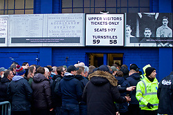 LIVERPOOL, ENGLAND - Sunday, March 3, 2019: Liverpool supporters queue up to enter small turnstiles before the FA Premier League match between Everton FC and Liverpool FC, the 233rd Merseyside Derby, at Goodison Park. (Pic by Paul Greenwood/Propaganda)