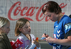 Tanja Oder signing autographs after EHF Champions league handball match in Group II between RK Krim Mercator and Gyori Audi Eto KC, on February 7, 2009, in Kodeljevo, Ljubljana, Slovenia. Gyori won 35:31. (Photo by Vid Ponikvar / Sportida)