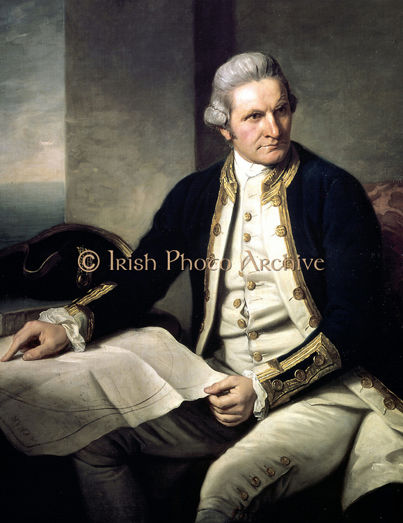 James Cook (1728-79) English explorer and navigator and hydrographer in naval uniform, seated, with hand on map of the world. Portrait by Nathaniel Dance (1735-1811) English painter.