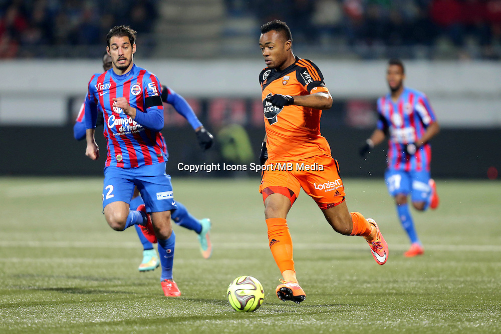 Jordan AYEW / Nicolas SEUBE - 14.03.2015 - Lorient / Caen - 29eme journee de Ligue 1<br /> Photo : Vincent Michel / Icon Sport
