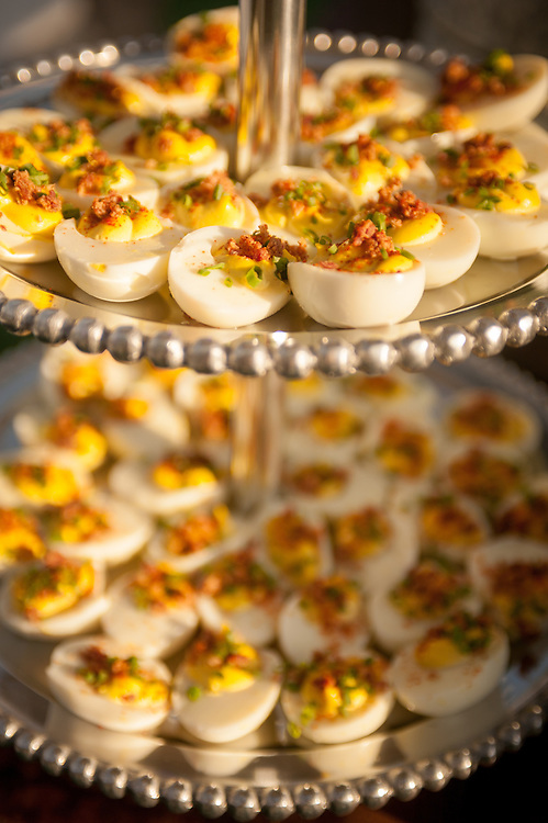 Trays of deviled eggs in Baltimore, Maryland, USA