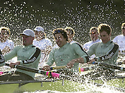 Photo. © Peter Spurrier/Intersport  Images.13/03/2004  - Rowing -Cambridge Blue Boat v Leander.Cambridge [LtoR] Cambridge president Wayne Pommen, Steffen Buschbacher, Andrew Shannon , power through the rough water , as they round Hammersmith Bend.[Mandatory Credit Peter Spurrier/ Intersport Images] Varsity: Boat Race [Mandatory Credit: Peter Spurrier/Intersport Images] . Rough Water and Spray. Rough, Choppy, Water, Conditions.