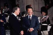 President Carter greeted by King Baudouin I of Belgium in the city of Brussels on January 6, 1978<br /> Photo by Dennis Brack