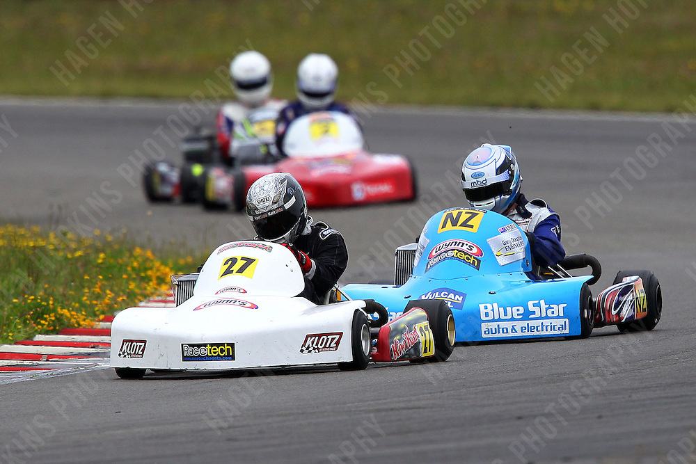 Andrew Hoare, 27, and Gareth Playle, NZ, race in the Rotax Light class during the 2012 Superkart National Champs and Grand Prix at Manfeild in Feilding, New Zealand on Saturday, 7 January 2011. Credit: Hagen Hopkins.