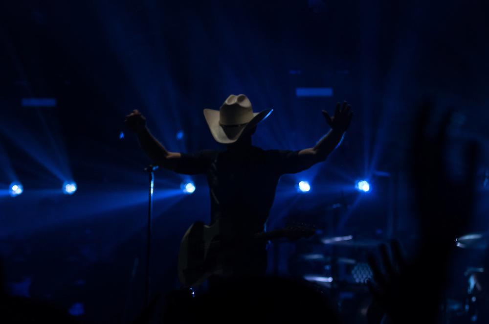 Justin Moore performing on the Platinum tour with Miranda Lambert at Peoria Civic Center, Peoria, Illinois, February 21, 2015. Photo: George Strohl