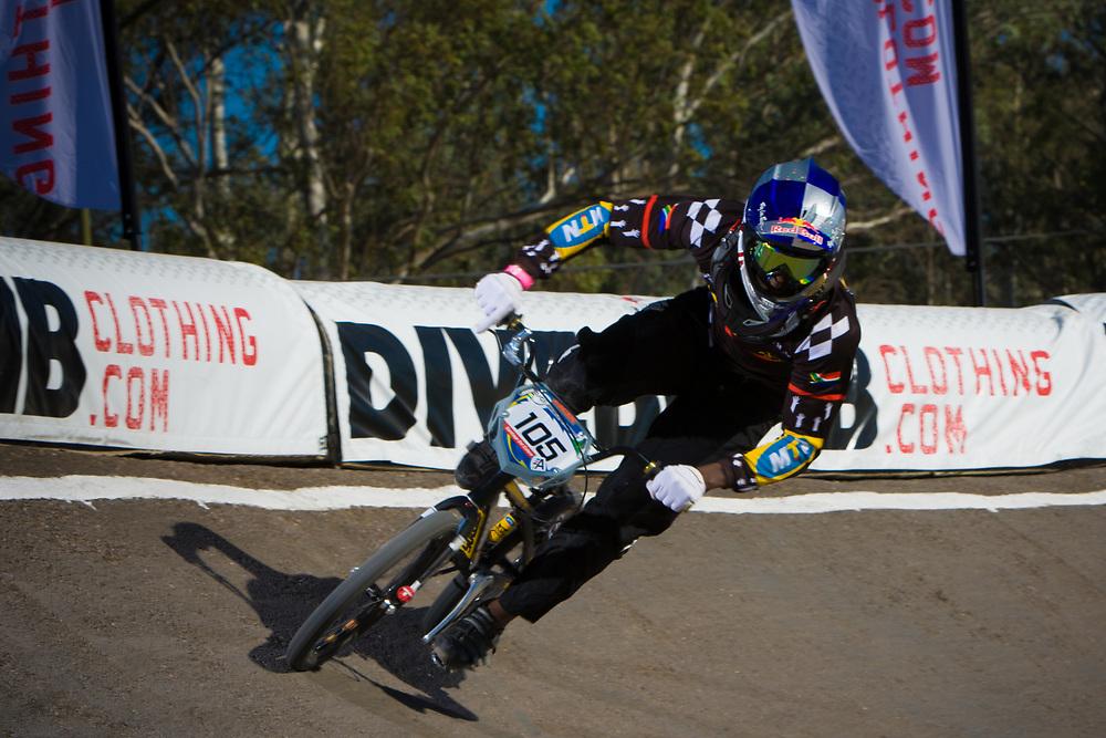 # 105 (NHLAPO Sifiso) RSA at the UCI BMX Supercross World Cup in Santiago del Estero, Argintina.