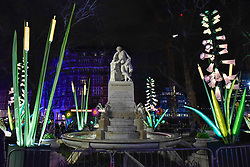 "© Licensed to London News Pictures. 18/01/2018. LONDON, UK. ""Nightlife"" by Lantern Company with Jo Pocock transforms Leicester Square Gardens into an enchanted forest with animals and flowers.   Opening night of Lumiere London, the capital's largest arts festival commissioned by The Mayor of London and produced by Artichoke.  Light installations by leading artists have been set up, both north and south of the river for the public to view 18-21 January. Photo credit: Stephen Chung/LNP"