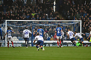 Wycombe Wanderers Defender, Joe Jacobson (3) scores a penalty to make it 2-2 during the EFL Sky Bet League 1 match between Portsmouth and Wycombe Wanderers at Fratton Park, Portsmouth, England on 22 September 2018.
