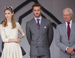 King Carl XVI Gustaf of Sweden, Beatrice Borromeo, Pierre Casiraghi pose in the royal tribune at the 77th Monaco Grand Prix, Monaco on May 26th, 2019. Photo by Marco Piovanotto/ABACAPRESS.COM