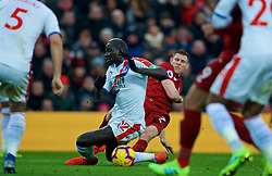 LIVERPOOL, ENGLAND - Saturday, January 19, 2019: Crystal Palace's Mamadou Sakho (L) and Liverpool's James Milner during the FA Premier League match between Liverpool FC and Crystal Palace FC at Anfield. (Pic by David Rawcliffe/Propaganda)