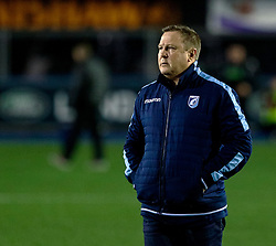 Head Coach John Mulvihill of Cardiff Blues during the pre match warm up<br /> <br /> Photographer Simon King/Replay Images<br /> <br /> Guinness PRO14 Round 15 - Cardiff Blues v Glasgow Warriors - Saturday 16th February 2019 - Cardiff Arms Park - Cardiff<br /> <br /> World Copyright © Replay Images . All rights reserved. info@replayimages.co.uk - http://replayimages.co.uk