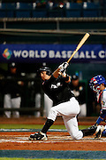 NEW TAIPEI CITY, TAIWAN - NOVEMBER 15:  Daniel Lamb-Hunt #15 of Team New Zealand strikes out to end the top of the fifth inning with runners at second and third during Game 2 of the 2013 World Baseball Classic Qualifier against Team Chinese Taipei at Xinzhuang Stadium in New Taipei City, Taiwan on Thursday, November 15, 2012.  Photo by Yuki Taguchi/WBCI/MLB Photos