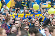 AFC Wimbledon fans during the Sky Bet League 2 Play-off Final at Wembley Stadium, London<br /> Picture by Matt Wilkinson/Focus Images Ltd 07814 960751<br /> 30/05/2016
