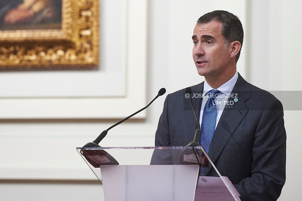 King Felipe VI of Spain attended the Delivery Gold Medals of Merit in Fine Arts 2014 at Bellas Artes Museum on December 2, 2015 in Sevilla, Spain