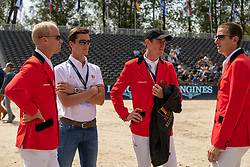 Guery Jerome, BEL, Philippaerts Nicola, BEL, Verlooy Jos, BEL, Wathelet Gregory, BEL<br /> Rotterdam - Europameisterschaft Dressur, Springen und Para-Dressur 2019<br /> Parcoursbesichtigung<br /> Longines FEI Jumping European Championship - 1st part - speed competition against the clock<br /> 1. Runde Zeitspringen<br /> 21. August 2019<br /> © www.sportfotos-lafrentz.de/Dirk Caremans