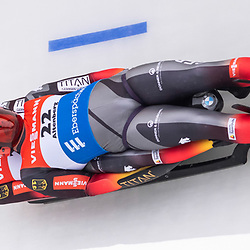 11 January 2020, Saxony, Altenberg: Luge: World Cup, men's doubles, first heat. Tobias Wendl and Tobias Arlt from Germany in action in the first run. Photo: Matthias Rietschel/dpa-Zentralbild/dpa <br /> <br /> Photo by Icon Sport - Altenberg (Allemagne)
