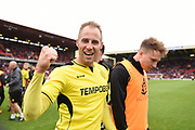 Burton Albion striker Luke Varney (19) goal-scorer celebrates Burton Albion staying in the Championship in only their first season in the second tier during the EFL Sky Bet Championship match between Barnsley and Burton Albion at Oakwell, Barnsley, England on 29 April 2017. Photo by Richard Holmes.