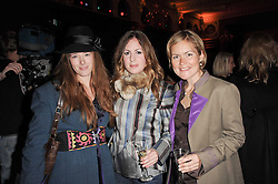 Left to right, the HON.EMMA ELLIOTT, HANNAH HEDGES and CAROLINE MULCAHY at Made in Afghanistan - a fashion show in aid of Afganaid and The Soldiers' Charity held at the Porchester Hall, London on 7th October 2010.