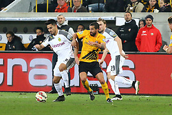 03.03.2015, Stadion Dresden, Dresden, GER, DFB Pokal, SG Dynamo Dresden vs Borussia Dortmund, Achtelfinale, im Bild Zweikampf zwischen Ilkay Guendogan (#8, Borussia Dortmund) und Nils Teixeira (#8, Dynamo Dresden) // SPO during German DFB Pokal last sixteen match between SG Dynamo Dresden and Borussia Dortmund at the Stadion Dresden in Dresden, Germany on 2015/03/03. EXPA Pictures &copy; 2015, PhotoCredit: EXPA/ Eibner-Pressefoto/ Hundt<br /> <br /> *****ATTENTION - OUT of GER*****