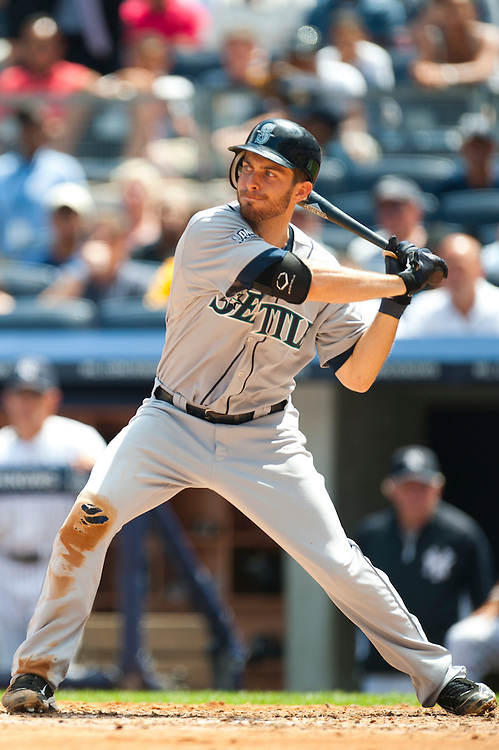 NEW YORK - JULY 27: Dustin Ackley #13 of the Seattle Mariners bats during the game against the New York Yankees at Yankee Stadium on July 27, 2011 in the Bronx borough of Manhattan. (Photo by Rob Tringali) *** Local Caption *** Dustin Ackley
