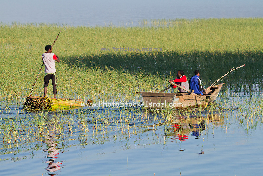 Africa, Ethiopia, Children fish in the river
