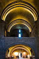 Interior of the powerful and compact Romanesque Maguelone Cathedral, dedicated to Saint Peter, exudes an atmosphere of peace and serenity. The cathedral at Villeneuve-lès-Maguelone, on the Mediterranean coast near Montpellier, was rebuilt in the 11th century on an island which was later connected to the mainland in the 18th century.