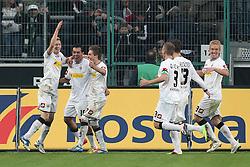 19.11.2011, BorussiaPark, Mönchengladbach, GER, 1.FBL, Borussia Mönchengladbach vs SV Werder Bremen, im BildTorjubel/ Jubel nach dem 5:0 durch Juan Arango (Mönchengladbach #18) mit Marco Reuss (Mönchengladbach #11) (L), Patrick Herrmann (Mönchengladbach #7) // during the 1.FBL, Borussia Mönchengladbach vs Werder Bremen on 2011/11/19, BorussiaPark, Mönchengladbach, Germany. EXPA Pictures © 2011, PhotoCredit: EXPA/ nph/ Mueller..***** ATTENTION - OUT OF GER, CRO *****