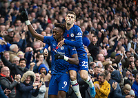 Football - 2019 / 2020 Premier League - Chelsea vs. Crystal Palace<br /> <br /> Tammy Abraham (Chelsea FC) celebrates with Christian Pulisic (Chelsea FC) after scoring at Stamford Bridge <br /> <br /> COLORSPORT/DANIEL BEARHAM
