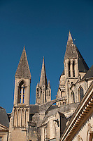 Towers at Abbaye aux Hommes in Caen, France