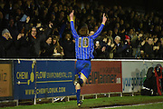 Alfie Egan celebrates with the fans during the FA Youth Cup match between U18 AFC Wimbledon and U18 Chelsea at the Cherry Red Records Stadium, Kingston, England on 9 February 2016. Photo by Michael Hulf.