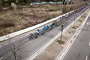 Stage 2 of the Volta Catalunya 2018 cycle race passes through the outskirts of Sant Cugat del Valles, en route from Mataro to Valls.