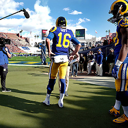 Los Angeles Rams quarterback Jared Goff (16) along with running back Todd Gurley (30) prior to a NFL football game against the San Francisco 49ers at the Los Angeles Memorial Coliseum on Saturday, Dec. 24, 2016 in Los Angeles.